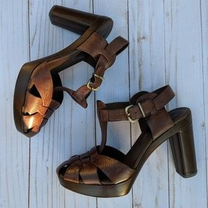 Franco Sarto leather platform heel sandals, size 9